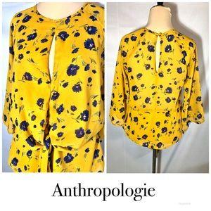 Harper Yellow print tie front keyhole blouse sz XS